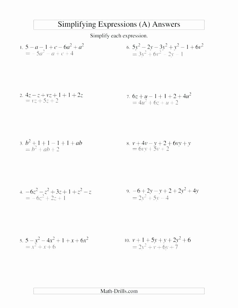 Numerical Expressions Worksheets 6th Grade New Algebraic Expressions for 6th Grade Worksheets