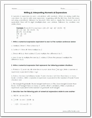 Numerical Expressions Worksheets 6th Grade Unique Writing Numerical Expressions 5th Grade Worksheets