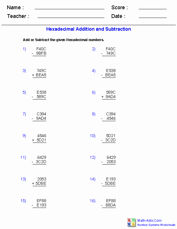 Numerical Expressions Worksheets Adding and Subtracting Hexadecimal Worksheets