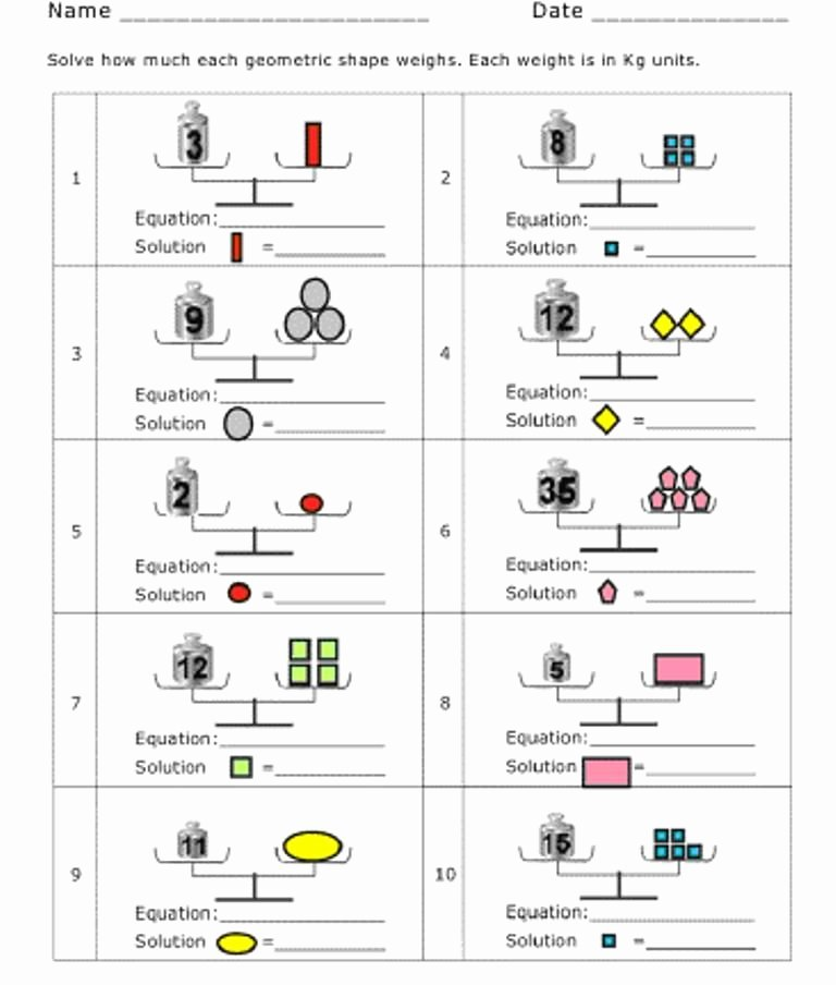 Numerical Expressions Worksheets Scale Pan Balance Education