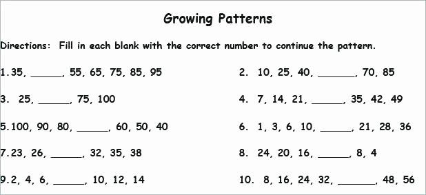 Numerical Patterns Worksheets Counting Patterns within 100 Worksheets