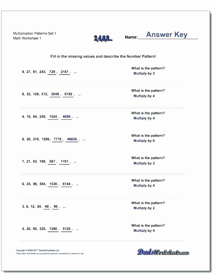 Numerical Patterns Worksheets Grade Math Number Pattern Worksheets the Best Image Missing