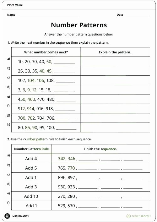 Numerical Patterns Worksheets Growing Patterns Worksheets