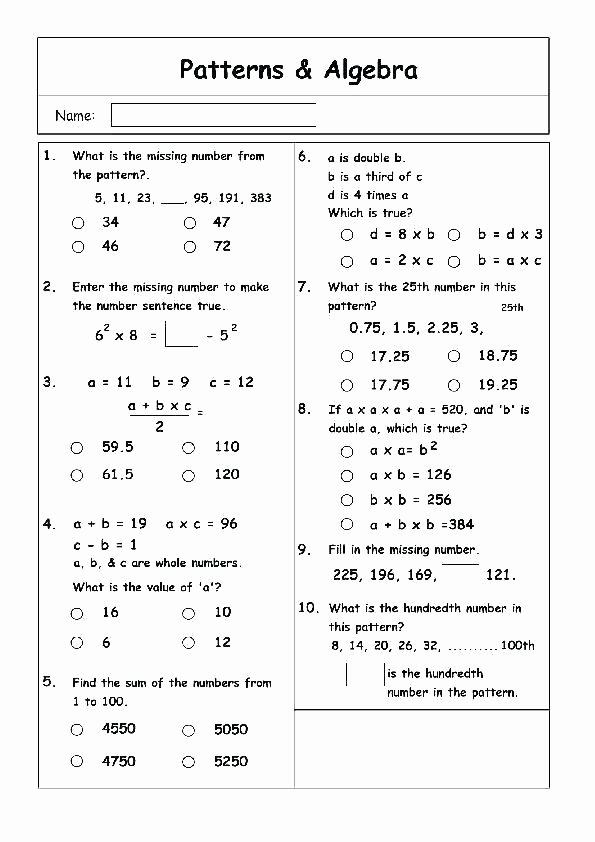 Numerical Patterns Worksheets Math Shape Pattern Worksheets Grade 3 Patterns Unique Number