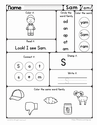 Ob Word Family Worksheets Sam Worksheet the Am Word Family