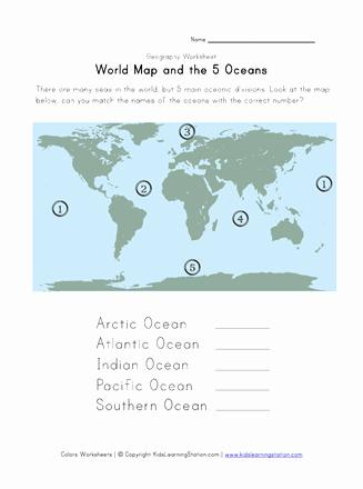 Ocean Worksheets for 2nd Grade 5 Oceans Geography Worksheet