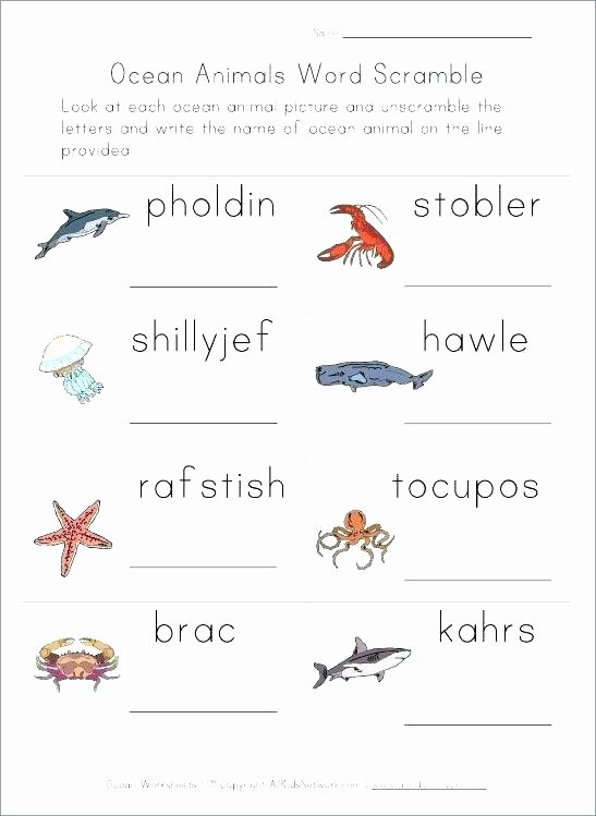 Ocean Worksheets for 2nd Grade Animals and their Habitats Reading Prehension Exercises 1