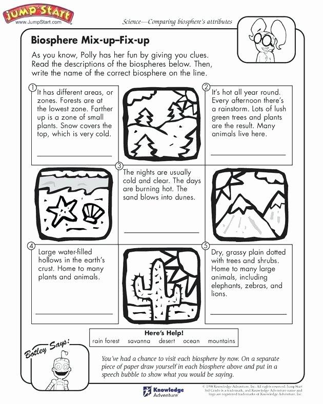 Ocean Worksheets for 2nd Grade Biosphere Mix Up Fix Up Grade Science Worksheets Third Grade
