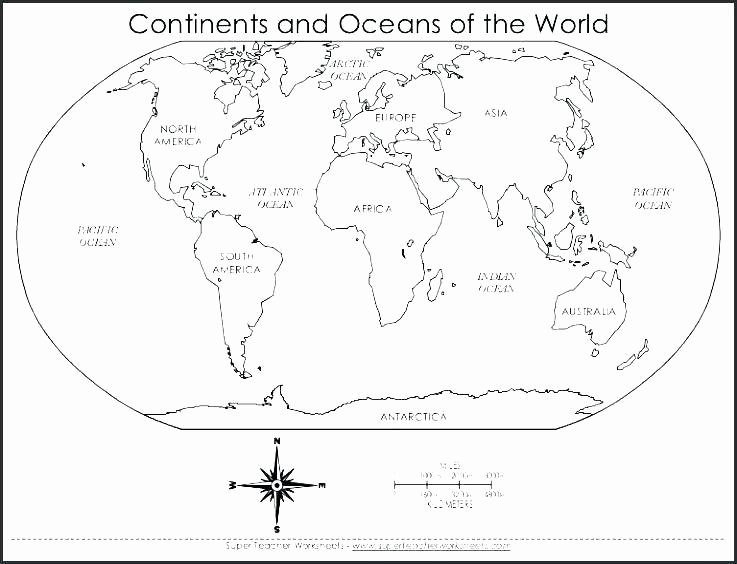 Oceans and Continents Worksheets Printable Printable Map Worksheets