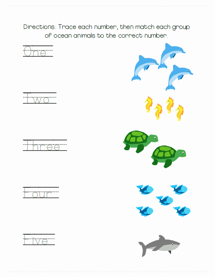 Oceans Worksheets for Kindergarten Simple Tracing and Matching Worksheet with Ocean Animal