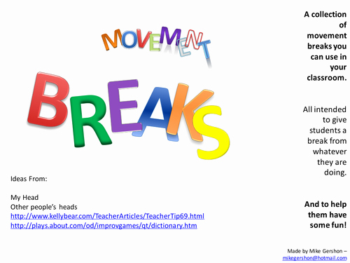 Oi and Oy Worksheets Movement Breaks