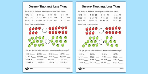 One More One Less Worksheet Greater Than and Less Than Differentiated Worksheet