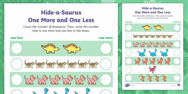 One More One Less Worksheet Hide A Saurus E More and E Less Dinosaurs Worksheet