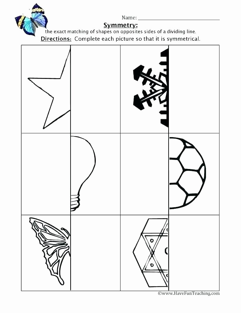Opposites Preschool Worksheets Symmetry Worksheets Grade 3