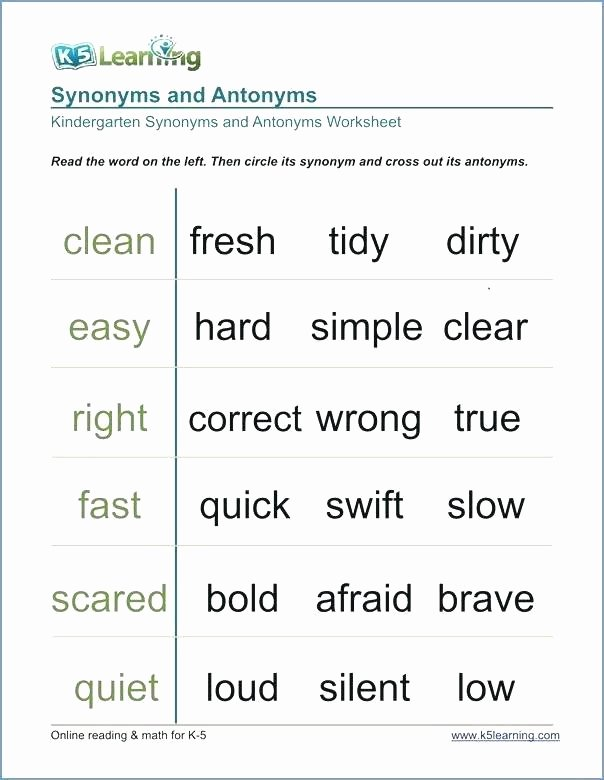 Opposites Worksheet for Kindergarten Antonyms Free Synonyms and Antonyms Worksheets 4th Grade