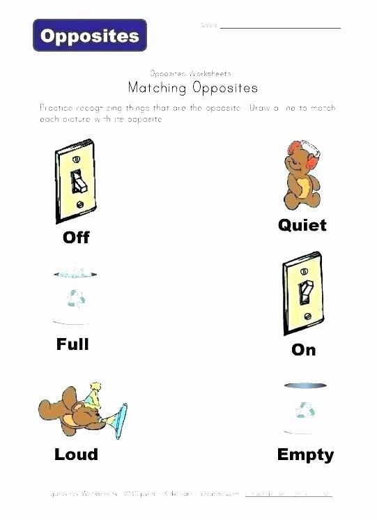 Opposites Worksheet for Kindergarten Kindergarten Words Worksheets for Matching Opposites Picture