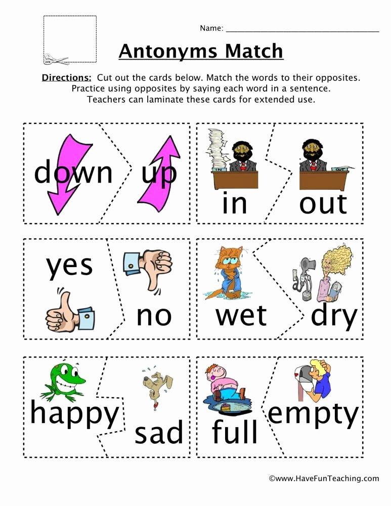 Opposites Worksheet for Preschool Antonyms Game Worksheet Learn English