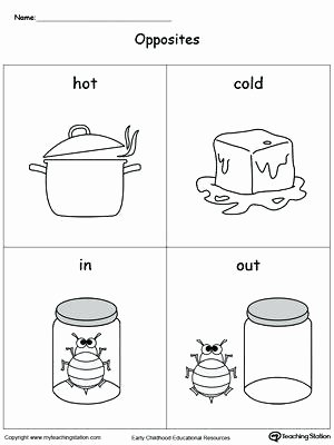 Opposites Worksheet Kindergarten In Out Worksheets for Kindergarten