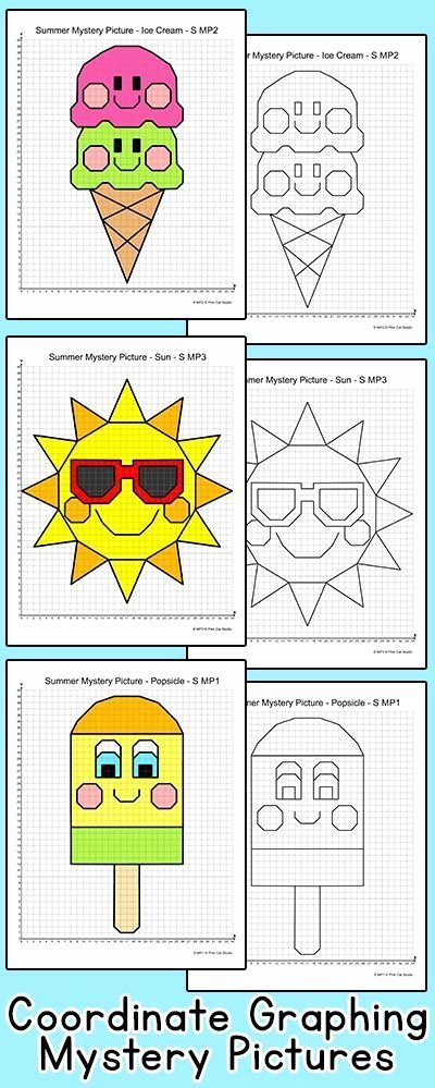 Ordered Pairs Picture Worksheets Coordinate Graphing ordered Pairs Summer End Of