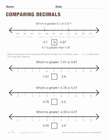 Ordering Decimals Worksheet 5th Grade Math Intervention Worksheets