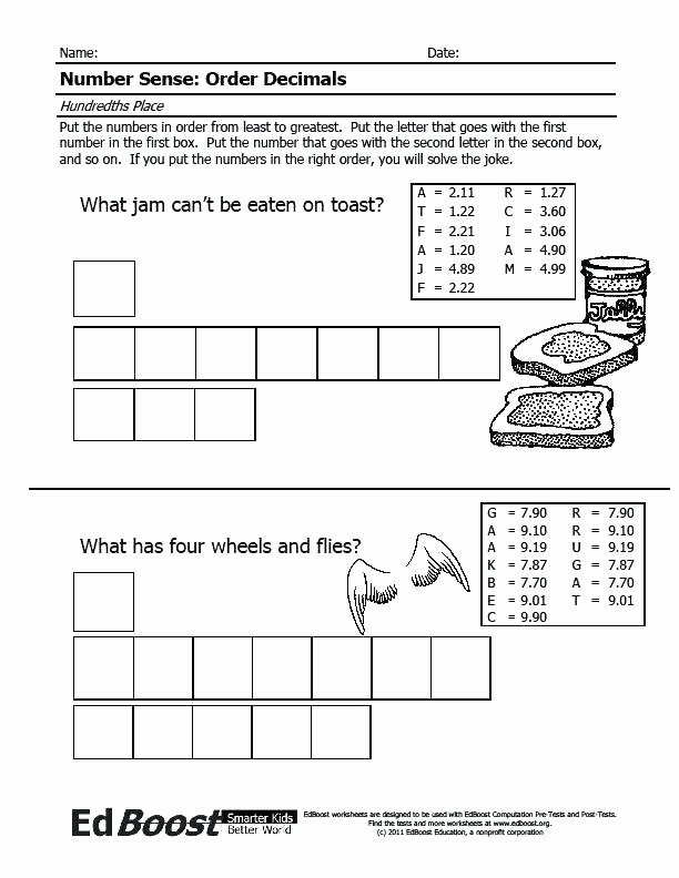 Ordering Decimals Worksheet 5th Grade ordering Numbers Worksheets 5th Grade
