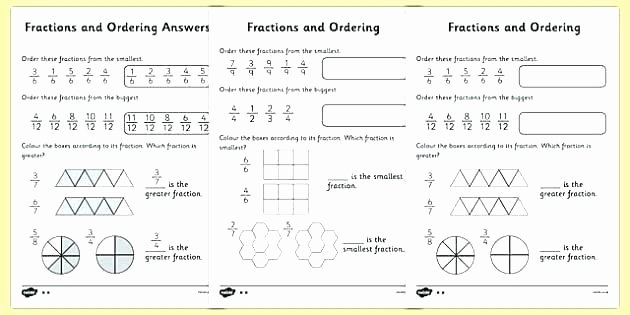 Ordering Fractions Worksheet 4th Grade Grade 7 Fractions Worksheets Fraction Questions Year Test