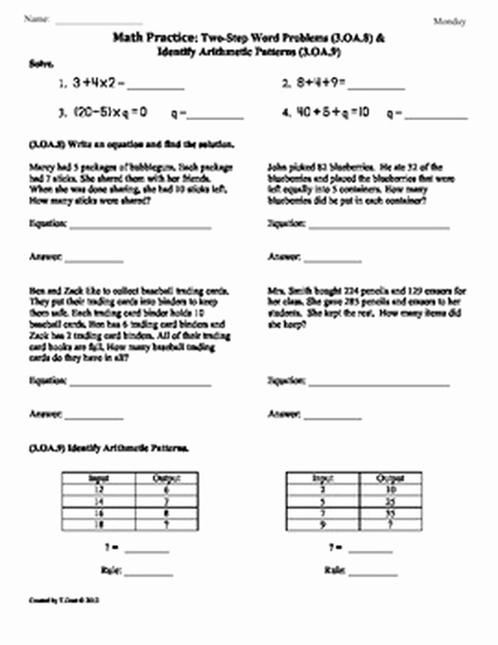 Ou Ow Worksheets 3rd Grade 16 Oa 9 3rd Grade Mon Core Math Worksheets Sample