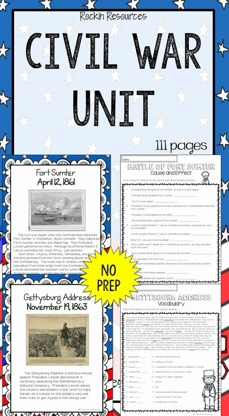 Ou Ow Worksheets 3rd Grade Civil War Unit Civil War Battles events and People