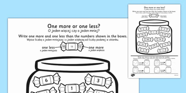 Oy Oi Worksheets E More E Less Sweet Counting Worksheet Polish