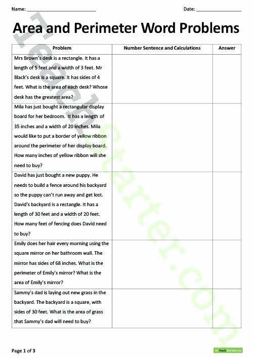 Paragraph Editing Worksheet area and Perimeter Word Problems Teaching Resource Teach