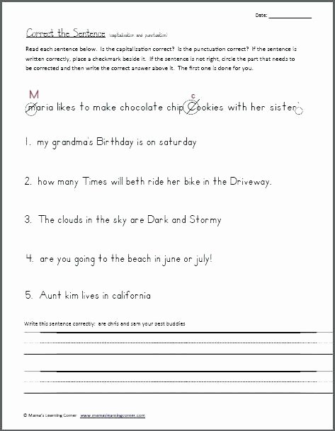 Paragraph Editing Worksheet Sentence Correction Worksheets Beautiful Punctuation 3 and