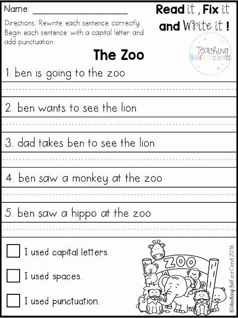 Paragraph Editing Worksheets 4th Grade Correct the Sentence Capitalization and Punctuation