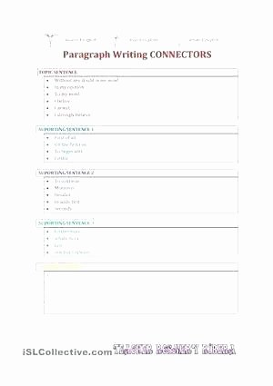 Paragraph Writing Worksheet Argumentative Paragraph Writing Connectors Persuasive