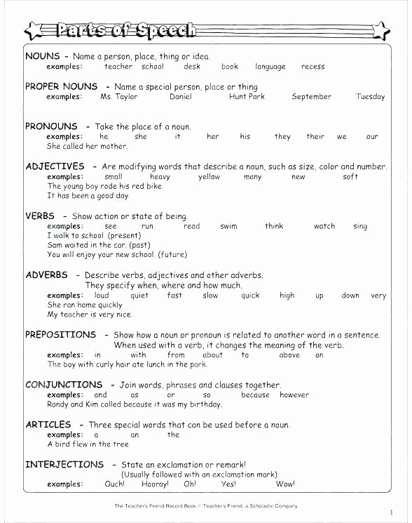 Parts Of Speech Printable Worksheets Noun Verb Adjective Worksheet Nouns and Pronouns Used as