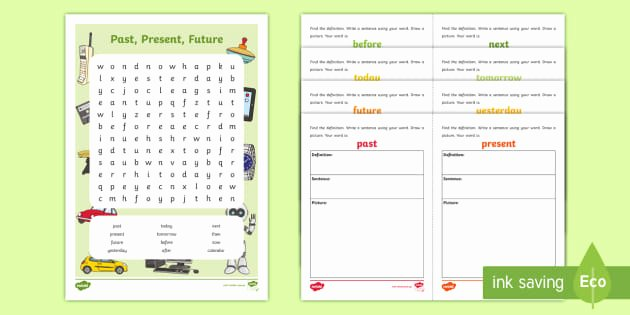 Past Present and Future Worksheets Past Present Future Lesson Pack