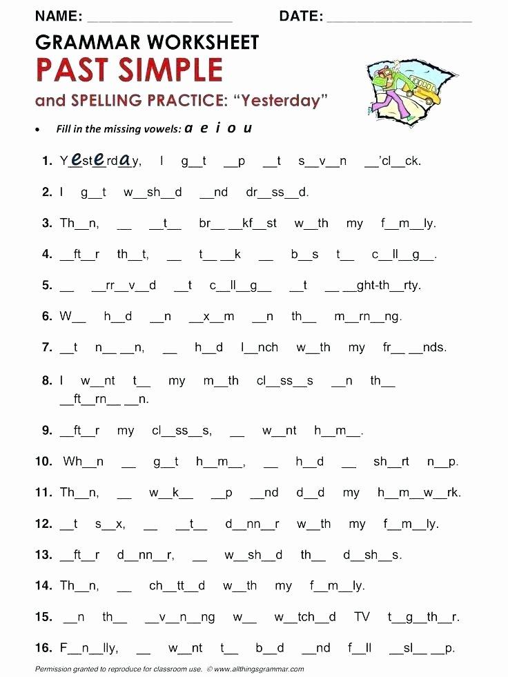 Past Tense Verbs Worksheet Esl Spelling Worksheets Past Tense Verbs Worksheets Cute