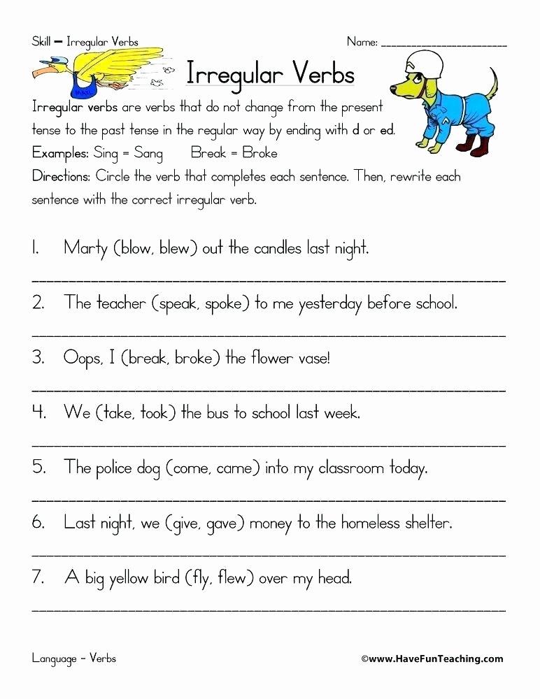 using irregular verbs worksheet worksheets printable list exercises suffix verb free for kindergarten