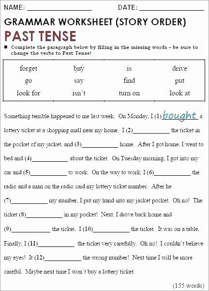 Past Tense Verbs Worksheet Simple Past Tense Regular and Irregular Verbs Verb