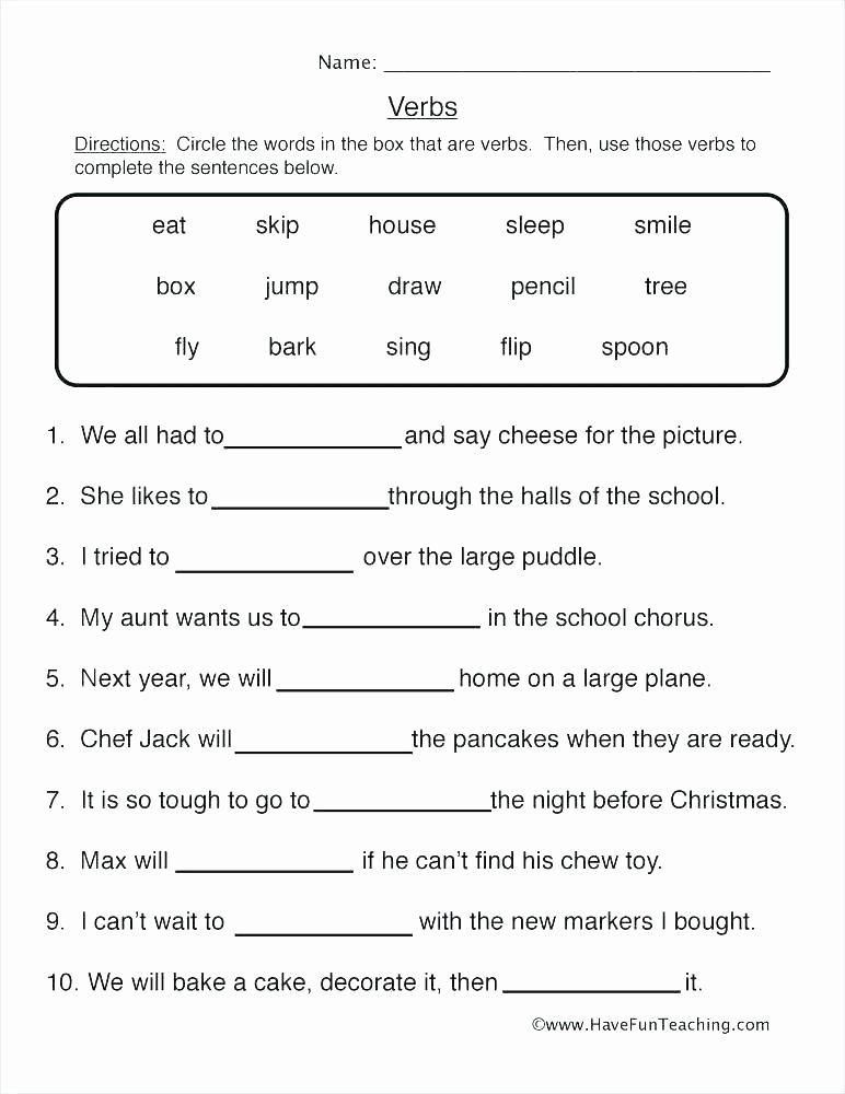 Past Tense Verbs Worksheet Verb Worksheets 1st Grade