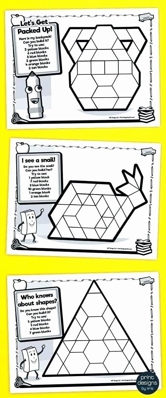 Pattern Block Fraction Worksheets Making Shapes with Pattern Blocks Worksheets Block Fabulous