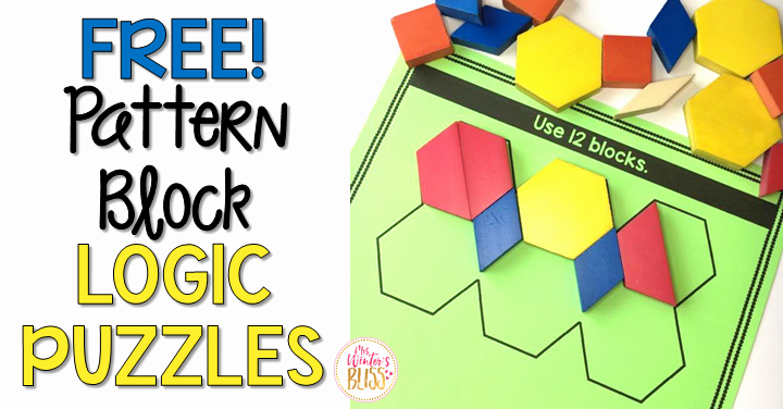Pattern Block Fraction Worksheets Pattern Block Logic Puzzles Mrs Winter S Bliss
