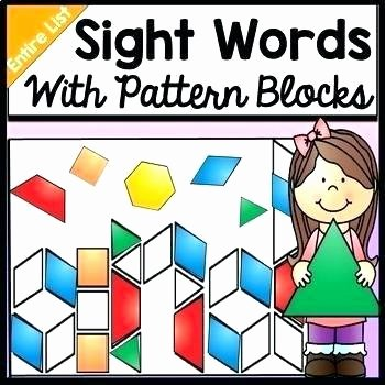 Pattern Block Fraction Worksheets Word Work Activities Sight Practice with Pattern Blocks