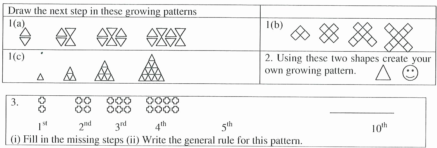 Pattern Worksheets 4th Grade Grade 7 Patterning Worksheets Patterns and Functions 2