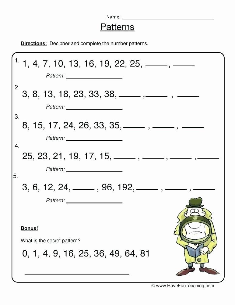 Pattern Worksheets 4th Grade Number Patterns Worksheets
