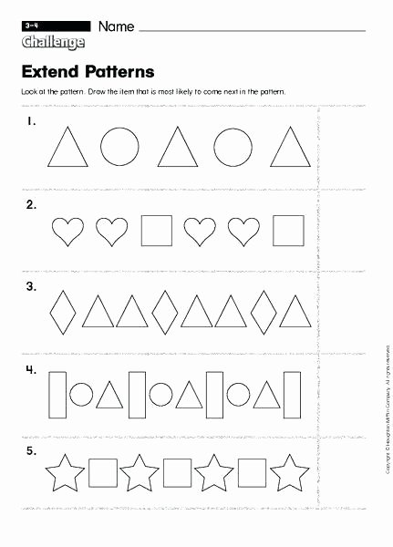 Pattern Worksheets 4th Grade Patterns for Preschoolers Worksheets Easy Preschool Patterns