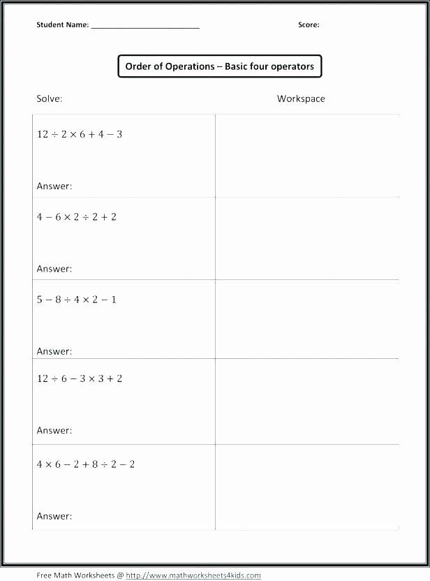 Pemdas Practice Worksheets order Operations Practice Worksheets Answer Key Elegant R