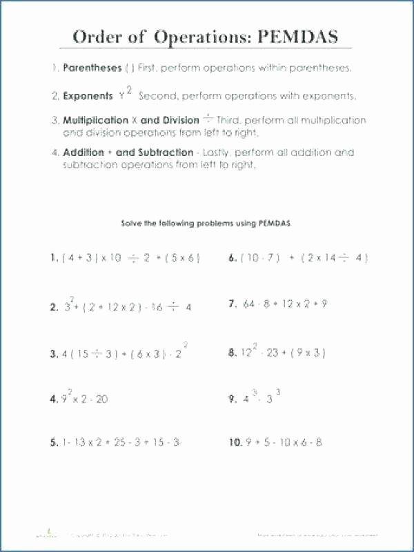 Pemdas Practice Worksheets Pemdas Worksheets with Answers order Operations Best