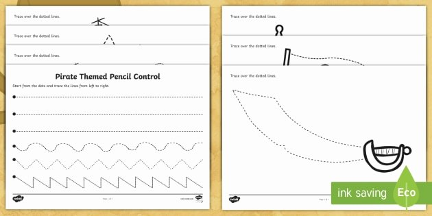 Pen Control Worksheets Pirate themed Pencil Control Worksheets Pirates Pirate