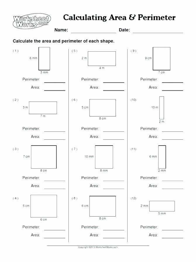 Perimeter Worksheet 3rd Grade Third Grade area and Perimeter Worksheets