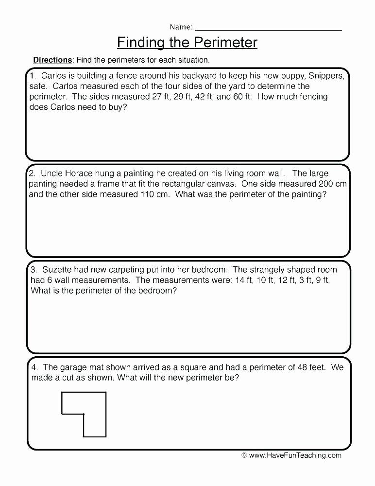 Perimeter Worksheet for 3rd Grade Free Perimeter Worksheets
